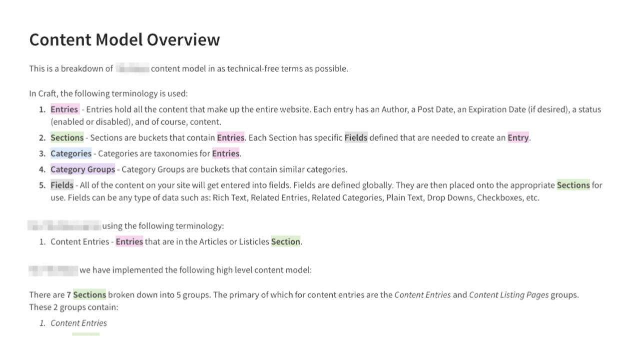content model overview